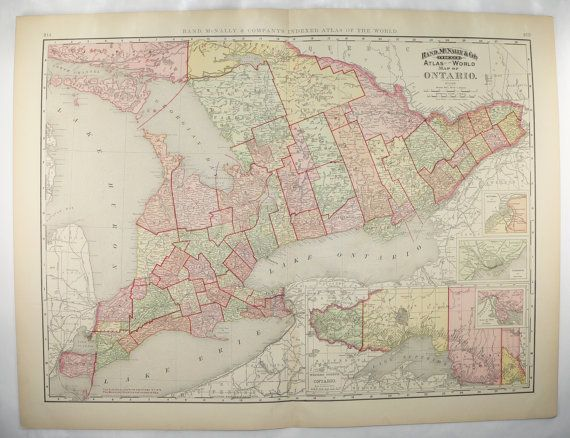 Vintage Ontario Canada Map 1898 Large Map Ontario 1st Anniversary