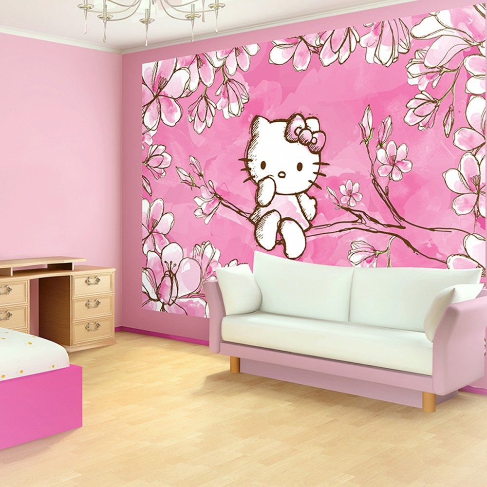 Pink wallpaper bedroom ideas with hello kitty bedroom for Bedroom designs with wallpaper