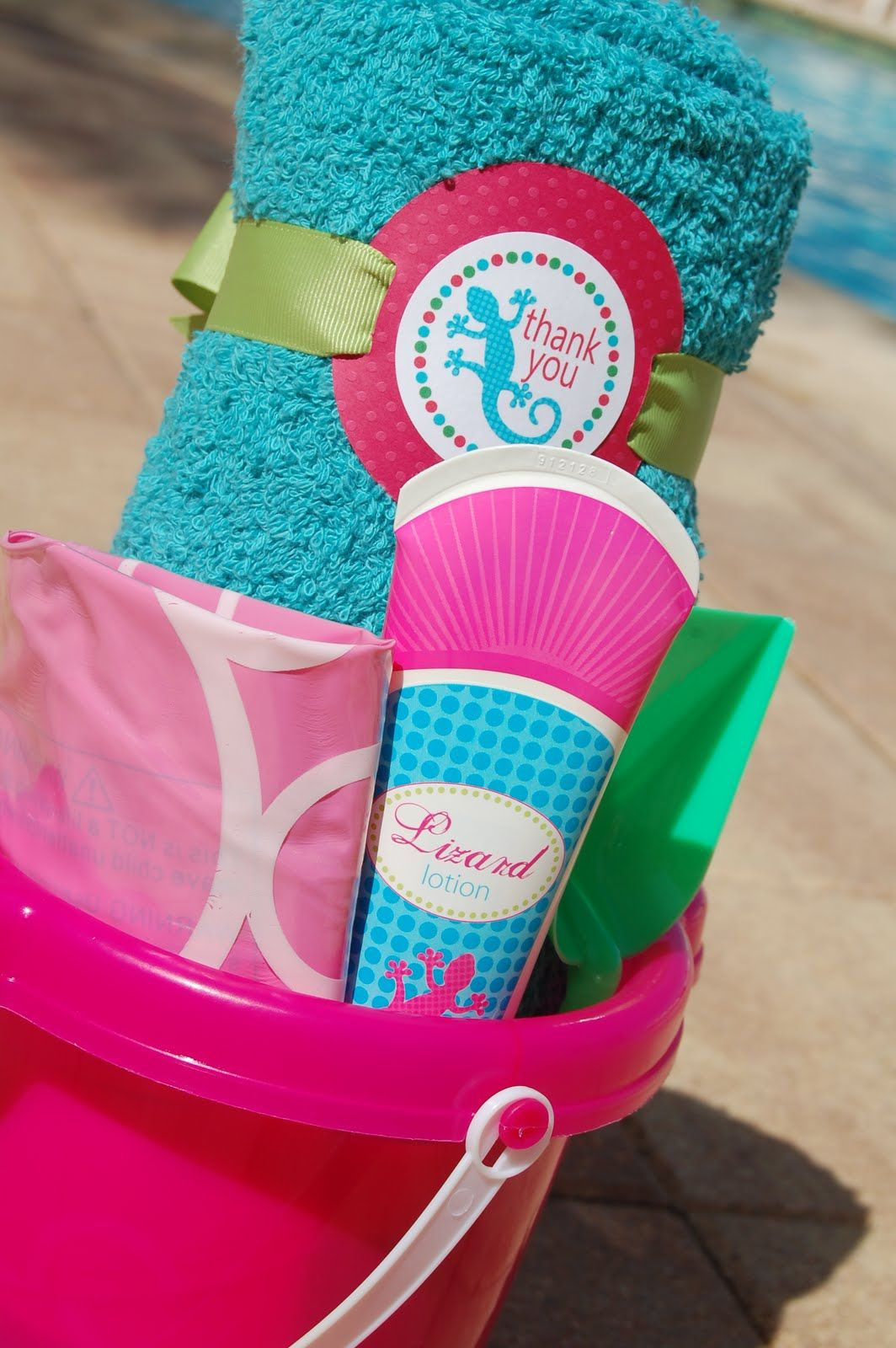 Party Favors Sand Pails Filled With Colorful Towel Beach Ball