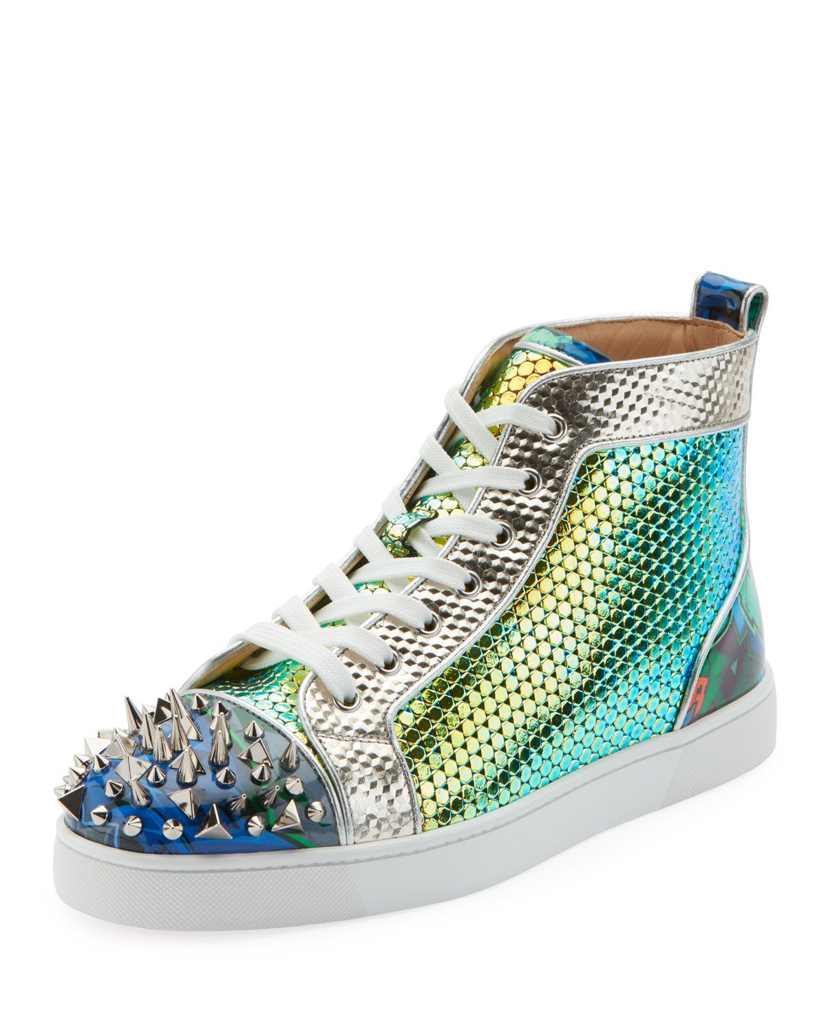 fea95e3fe786 CHRISTIAN LOUBOUTIN MEN S SPIKED METALLIC HOLOGRAPHIC MID-TOP SNEAKERS.   christianlouboutin  shoes