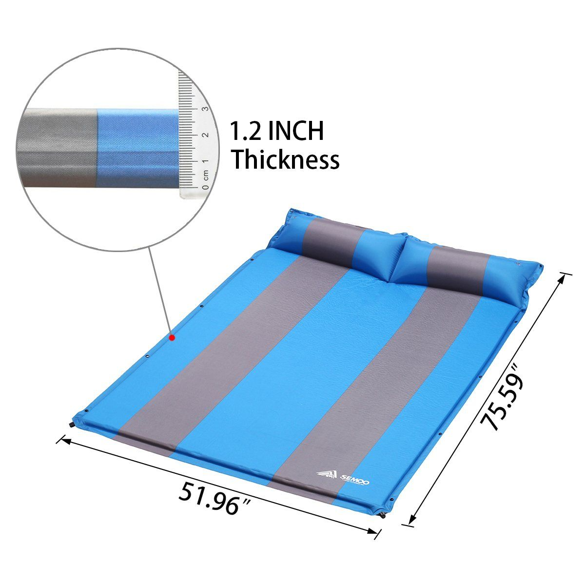 cfe70c81505a SEMOO Double 2 person SelfInflating Camping Sleeping Mat/pad 190T ...