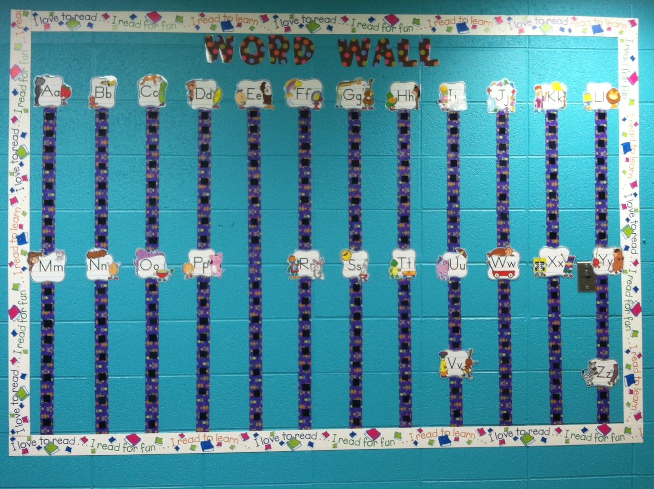 Kindergarten Word Wall Made With Owl Printed Duct Tape