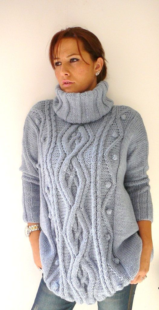 Blue Gray Plus Size Hand Knitted Dress Sweater With By Biano Get