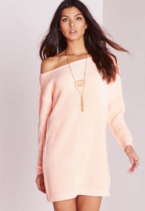 d556e28853f1 Off Shoulder Knitted Jumper Dress Blush - Knitwear - Jumper Dresses -  Missguided