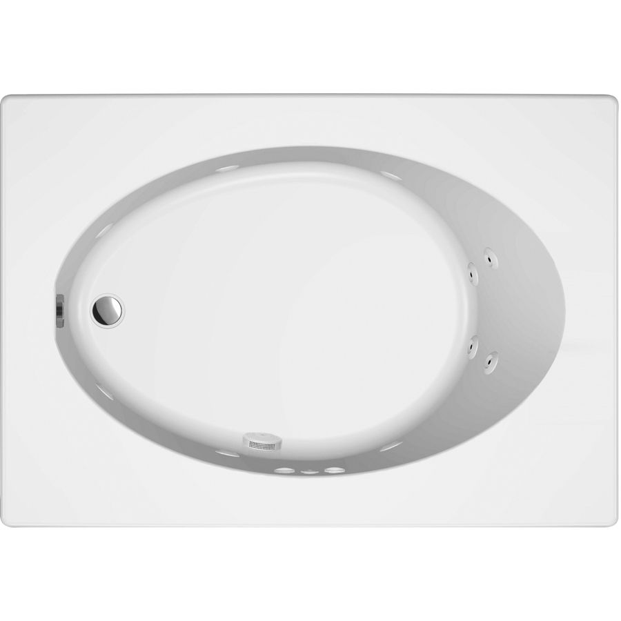 Jacuzzi Primo White Acrylic Oval in Rectangle Whirlpool Tub (Common ...