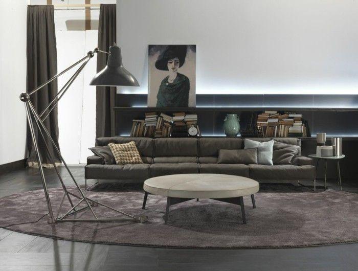 wohnzimmer lampe industrielle stehlampe ovaler teppich runder - moderne wohnzimmer leuchten