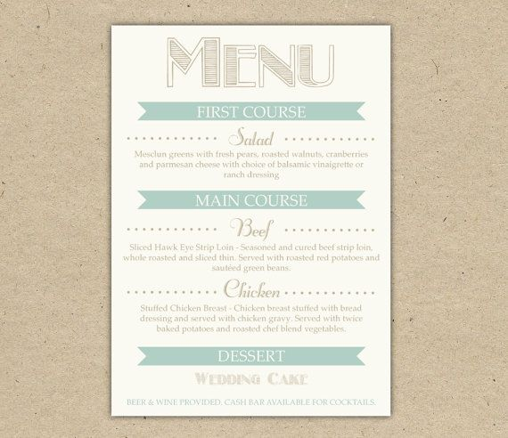 Wedding Menu Dinner Custom Printable Template By Bejoyfulpaper