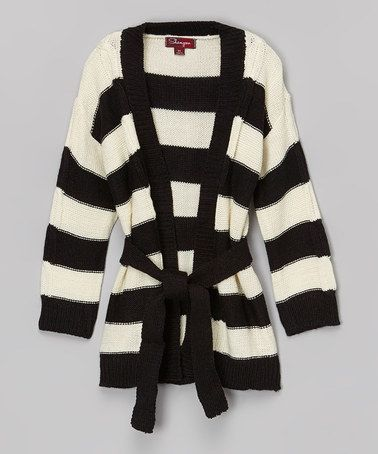 Another great find on #zulily! Black Ink & Vanilla Stick Stripe Sweater - Toddler & Girls #zulilyfinds
