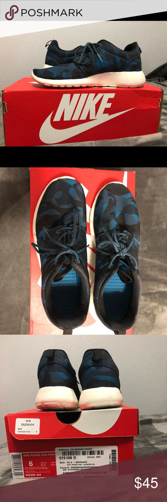 promo code 8e1f9 1cc13 Nike Roshe One W Black  Blue Print Original Price 80 Price is negotiable