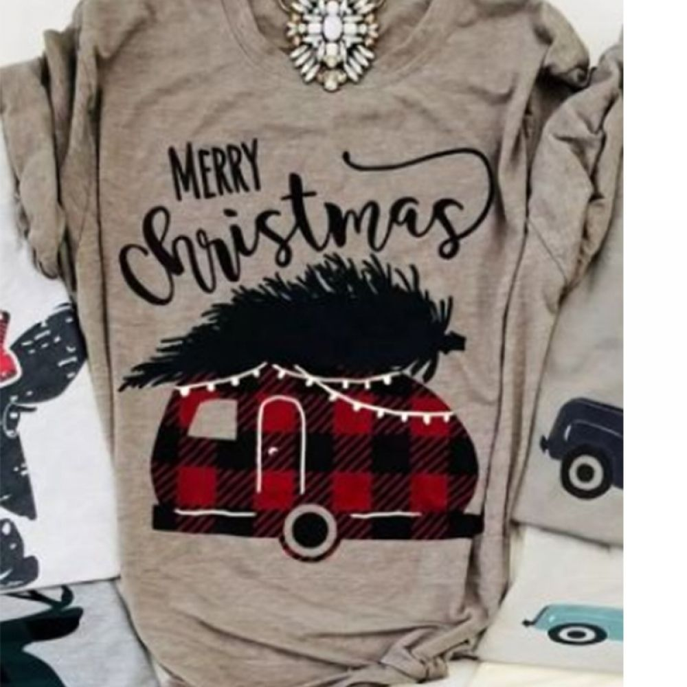 f1771076303b8 merry christmas plaid car top womens fashion t-shirts gobble gobble tee  female tshirt christmas tops fashion tee Price  20.78  tees