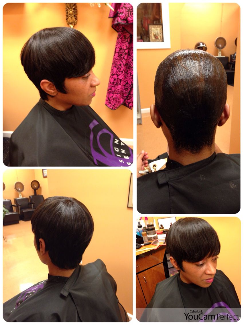 Short style quick weave client natural hair is molded down short style quick weave client natural hair is molded down and protected pmusecretfo Gallery