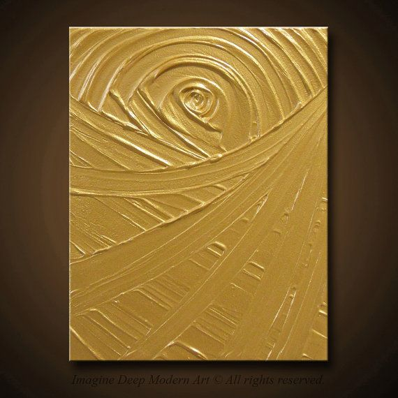 Gold Painting Yellow Gold  Abstract by ImagineDeepModernArt, $85.00
