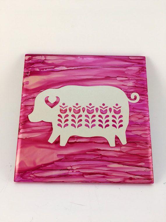 Pig Trivet, Pig Hot Plate, Kitchen Decor, Ceramic Tile Decor, Pig Decor,  Folk Art Decor