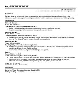 Find Graded Wisconsin Green Bay Education And Training Resume
