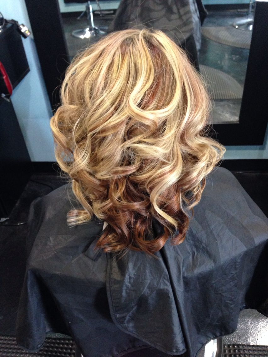 Copper Red Lowlights With Blonde Highlights Fall Color By