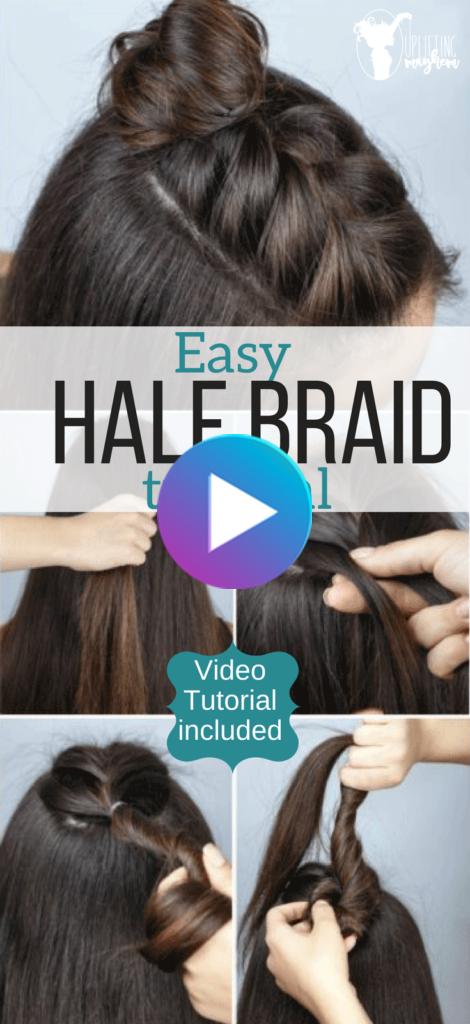 Easy Half Braid Hairstyle Tutorial – Video Hairstyle Tutorial,  #Braid #Easy #gevlochtenkapsels #Hairstyle #Tutorial #Video