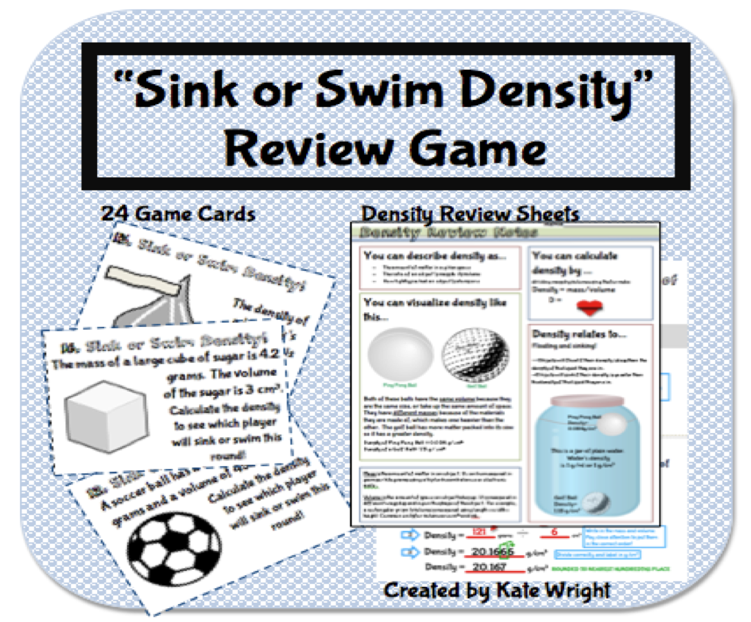 Density Game 'Sink or Swim' Review Activity Middle