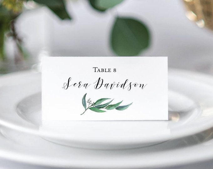 Eucalyptus Wedding Place Cards Printable Tented Placecards Personalized Name Greenery Leafy Green Foldable