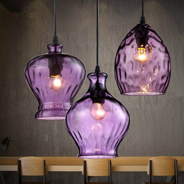 Industrial Retro Purple Pendant Light With Three Lights 155 Liked On Polyvore Featuring Home L Modern Ceiling Light Fixtures Pendant Light Ceiling Lights