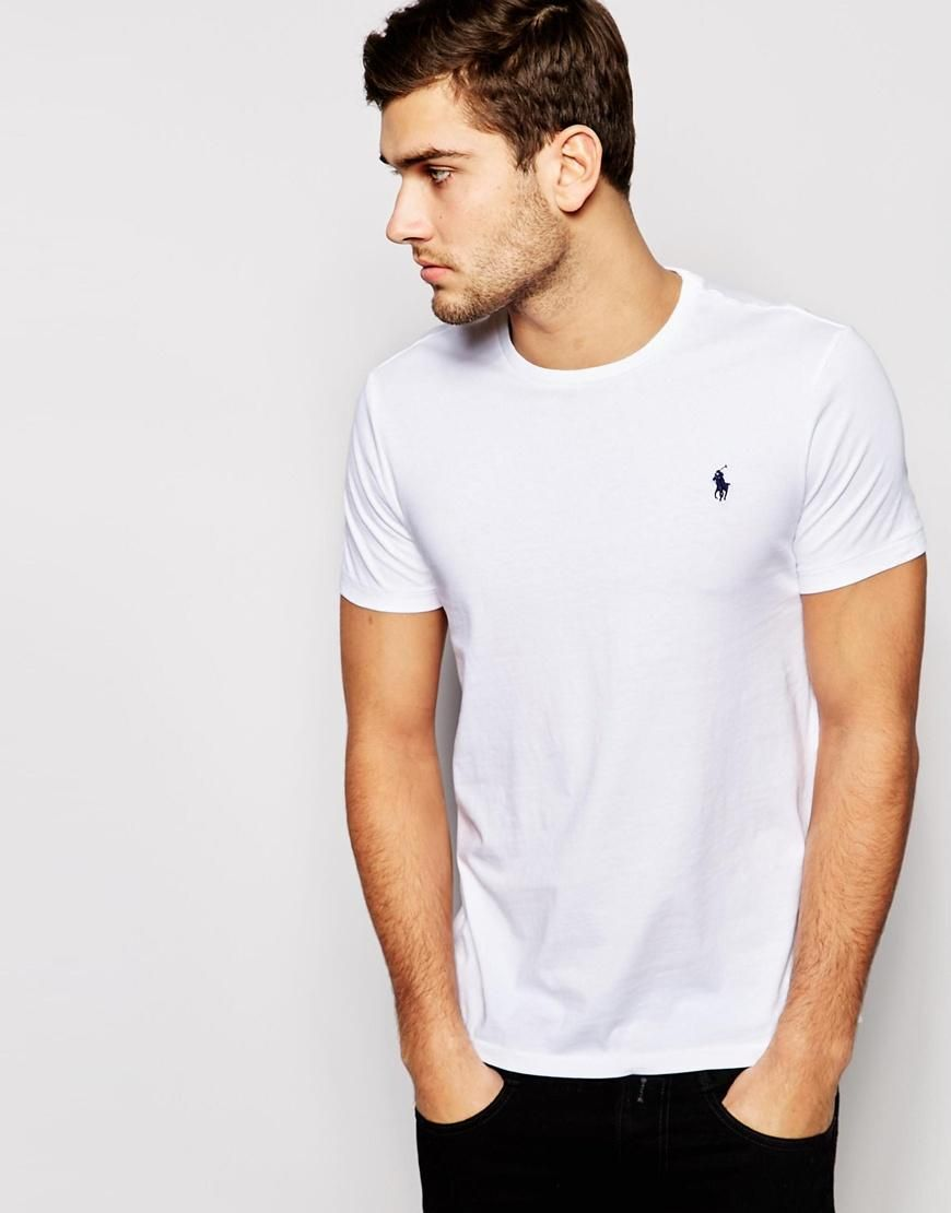 Vêtements Pour Hommes · Polo Ralph Lauren   Polo Ralph Lauren Logo Crew  Neck T-Shirt In White at 3b66c7163225
