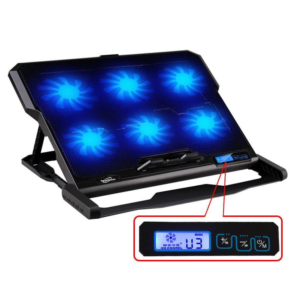 12 15 6 Laptop Cooler 2 Usb Ports Six Cooling Fan Cooling Pad Stand Led Screen Unbrandedgeneric Laptop Cooler Laptop Cooling Pad Laptop Accessories