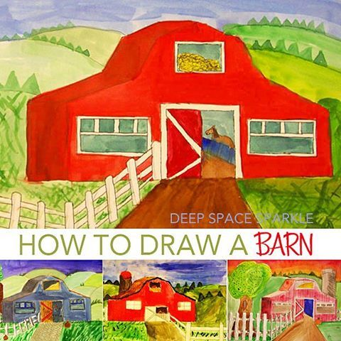 Math makes art easy! Having numbers to follow really makes the difference between overwhelming and easy with this barn drawing.  I did this lesson with 100's of 6th graders and they ALL did amazing.  Lesson on blog (click on Fall Projects banner)