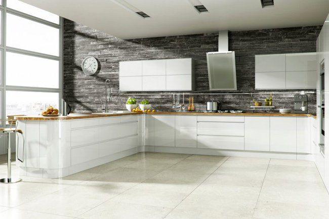 Cocina blanca con pared de piedra   Kitchen\'s   Pinterest   Cocina ...