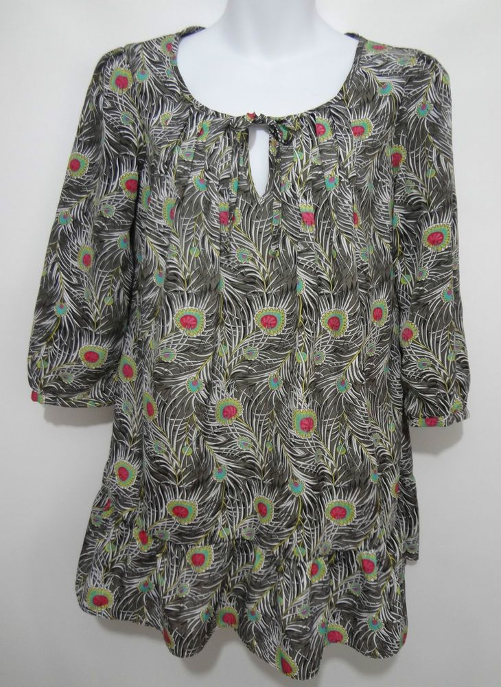 Liberty of London for Target Womens S Peasant Boho Peacock Feathers Top Blouse  #LibertyofLondon #PeasantBlouse #Casual