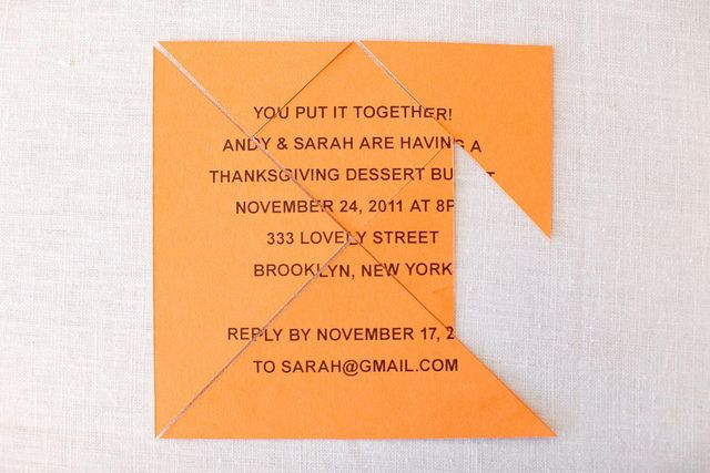 Puzzle Invite from Tangram Printable Party by Mélangerie Inc, $12:  http://www.etsy.com/listing/85643551/tangram-printable-party  Cakes by NineCakes.com and Photography by JenHuangPhotography.com