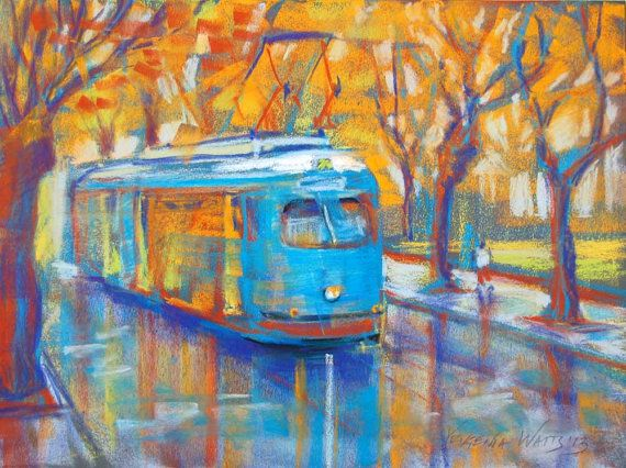 Blue Tram Pastel Painting Signed Giclee Print by YevgeniaWatts, $25.00