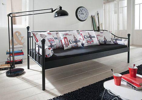 Metallbett Lena Tagesbett Schwarz 90x200 Cm Bettgestelle Betten Mobel Tagesbett Bett 90x200 Bett