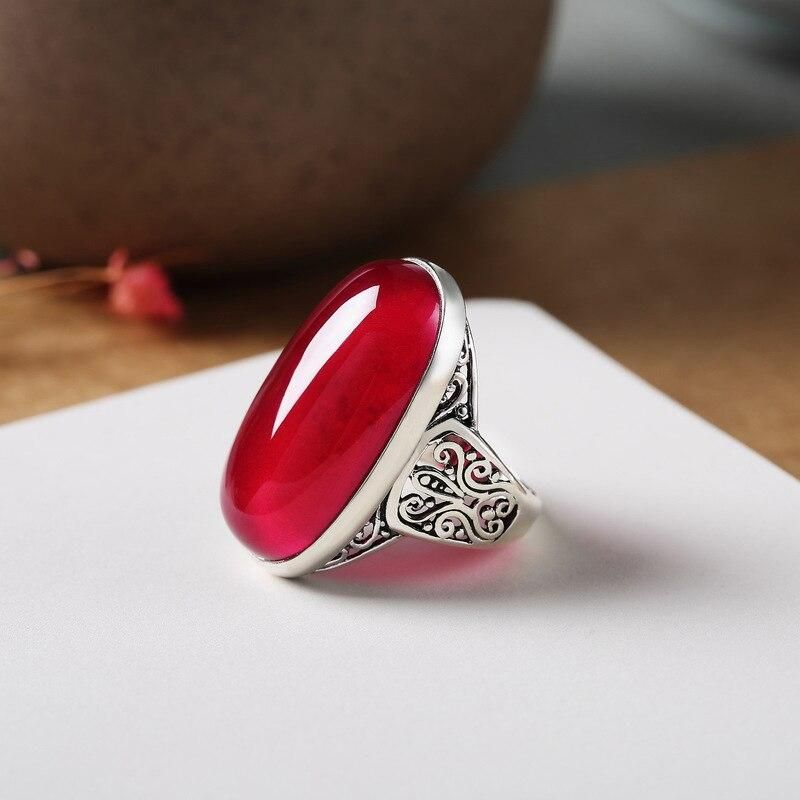 925 ARGENT STERLING RUBY Gemstone Round Ring Taille 5-10