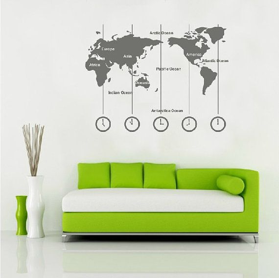 Vinyl world map wall decal time wall art clock wall sticker wold vinyl world map wall decal time wall art clock wall sticker wold map with time zone by customwalldecal on etsy 2998 gumiabroncs Gallery