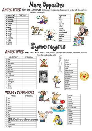 This is the second part of my series on opposites and synonyms. There are matching exercises and a wor… | Teaching vocabulary. English ...