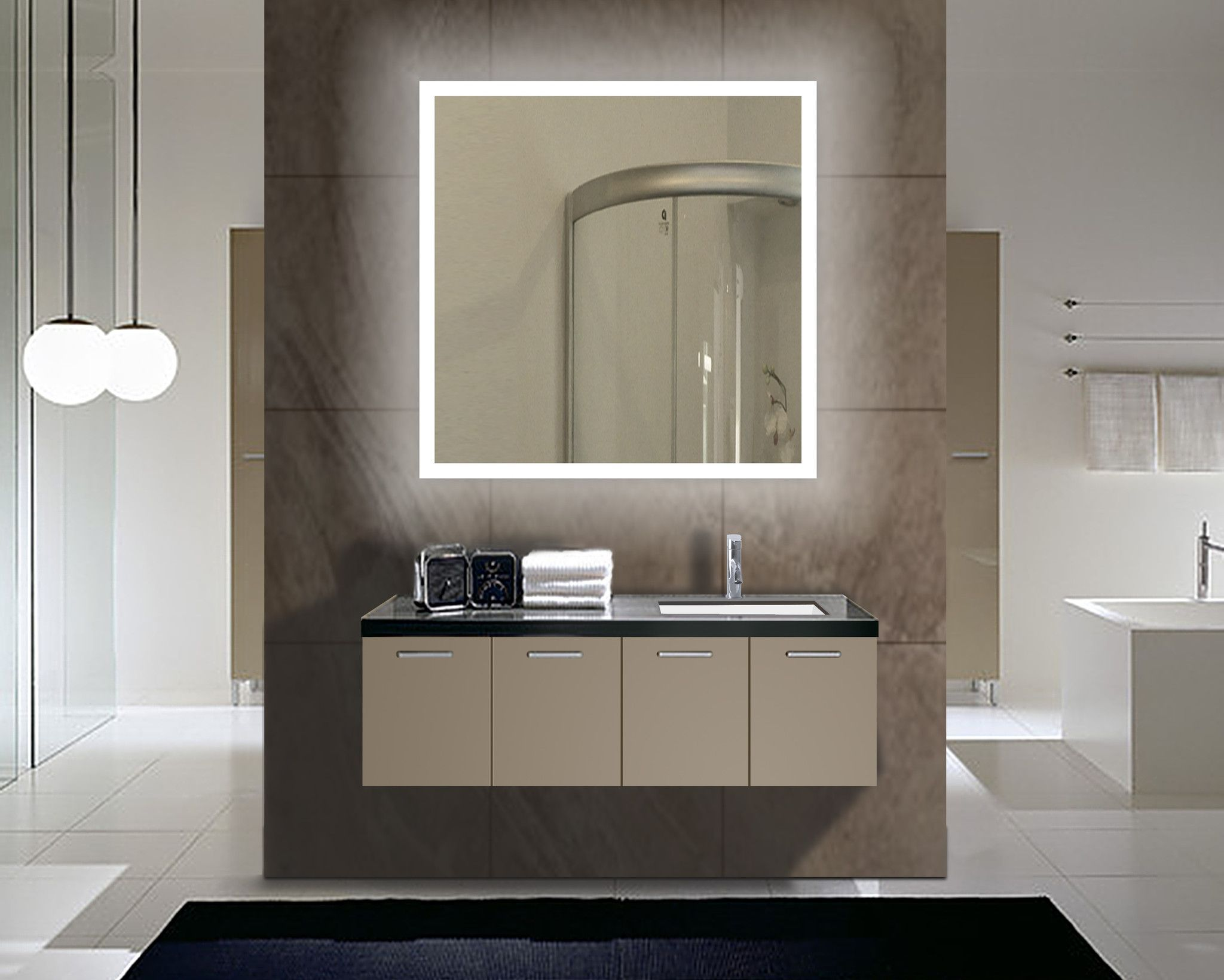 Backlit Lighted Mirror Size H 36 X W 36 X D 2 Inches This Product Features 110 V Wiring 3300 L Bathroom Mirror Large Bathroom Mirrors Mirror Wall Bathroom