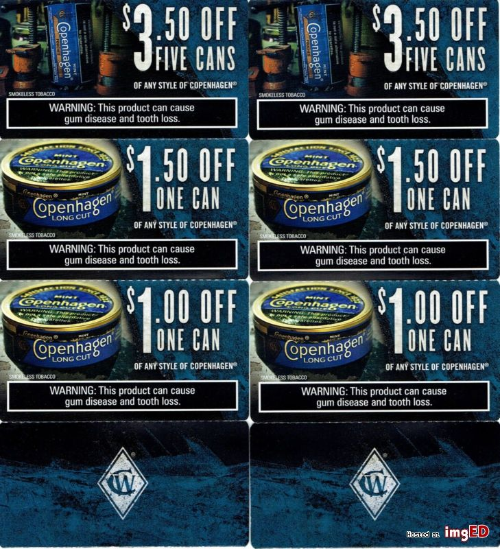 Copenhagen snuff smokeless tobacco coupons lot 12 in