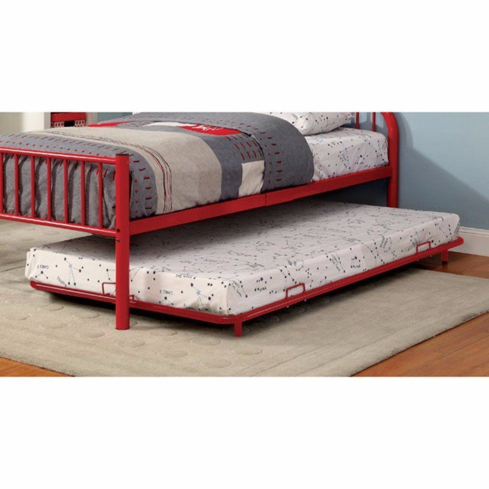Trundle Bed Rainbow Contemporary Style Metal Trundle Red