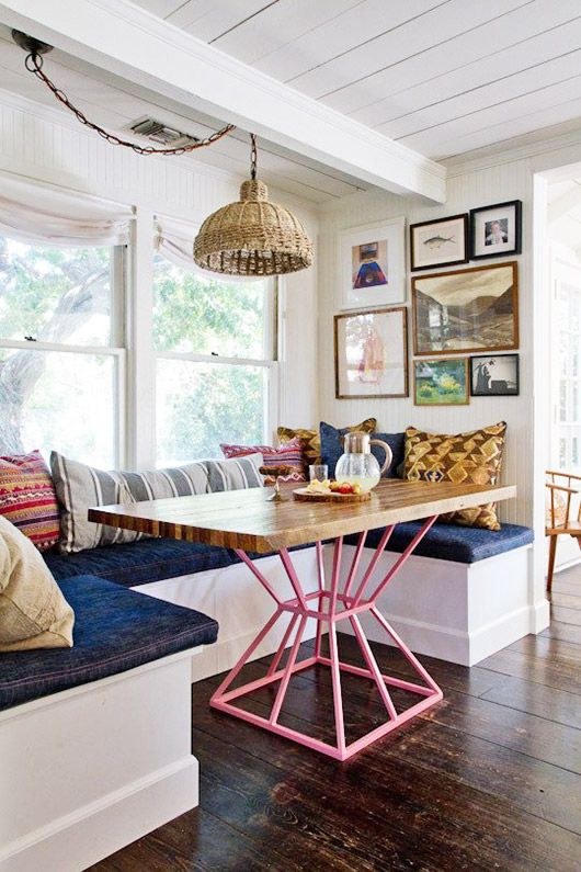 Wood Table With Pink Base In Bohemian Modern Kitchen Nook