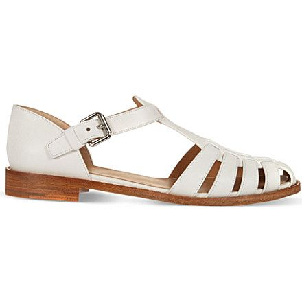 CHURCH Kelsey leather closed-toe sandals (White