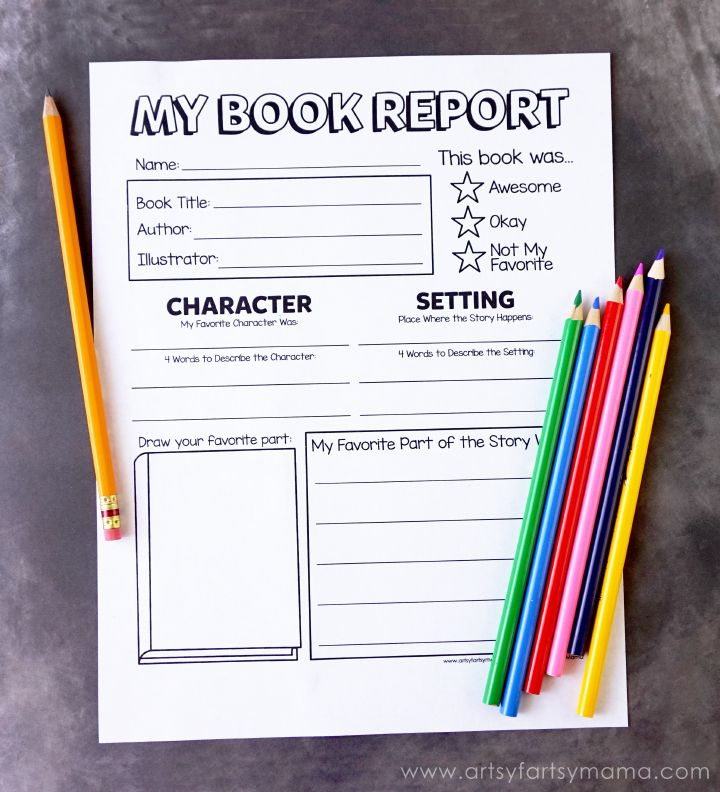 Free Printable Book Report Form at artsyfartsymama Kids - book report cover sheet