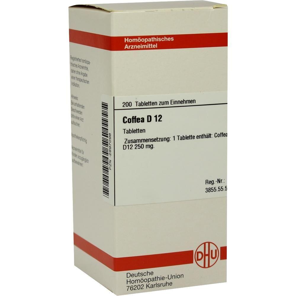 COFFEA D 12 Tabletten:   Packungsinhalt: 200 St Tabletten PZN: 02897098 Hersteller: DHU-Arzneimittel GmbH & Co. KG Preis: 10,19 EUR inkl.…