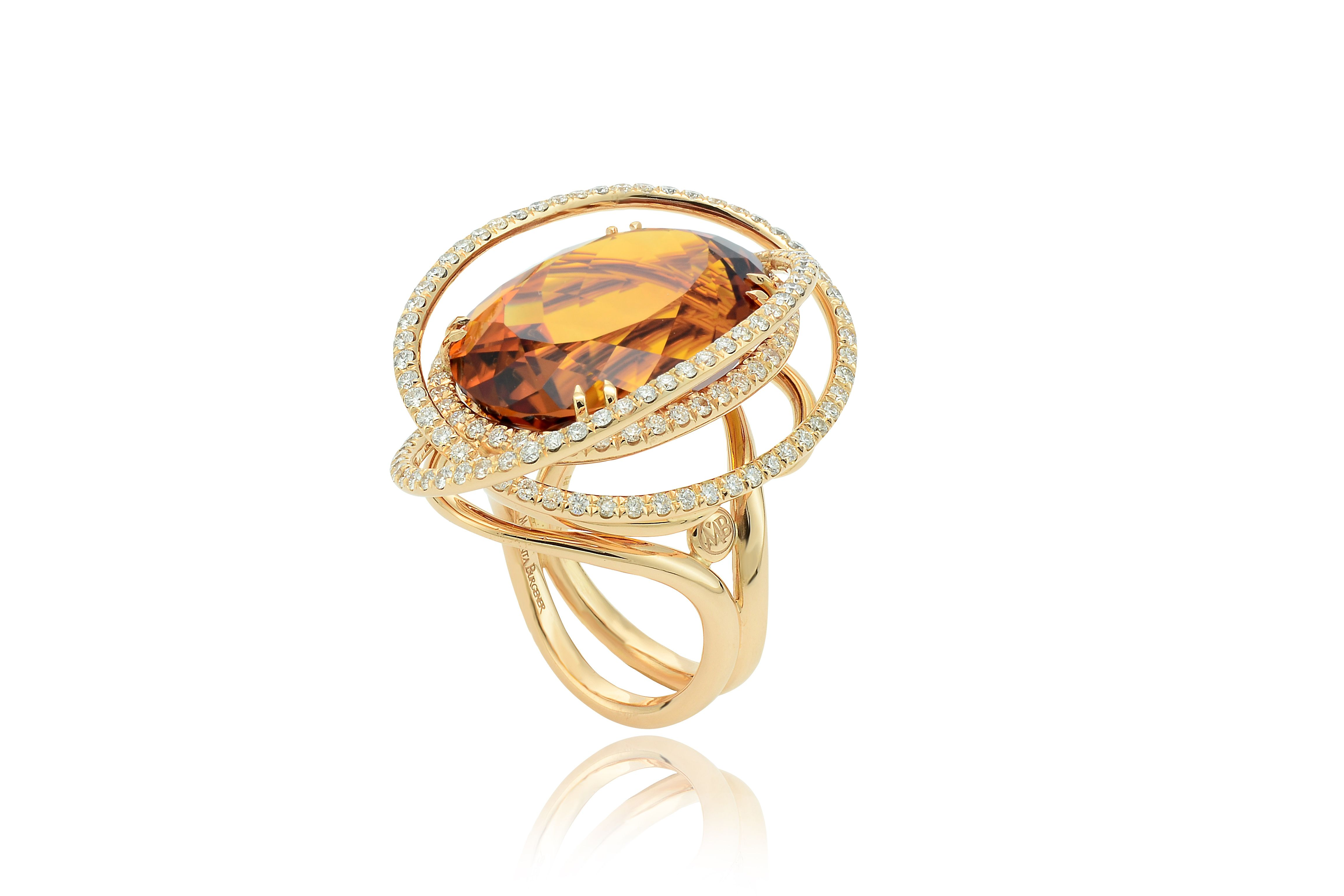 Satellite ring, in yellow gold, diamond and citrin quartz. @ Phillips NY. stay tuned!