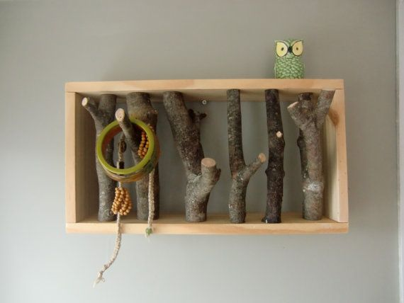 Wall rack made from natural wood. Wasn't sure if I should put this on my DIY list or not....