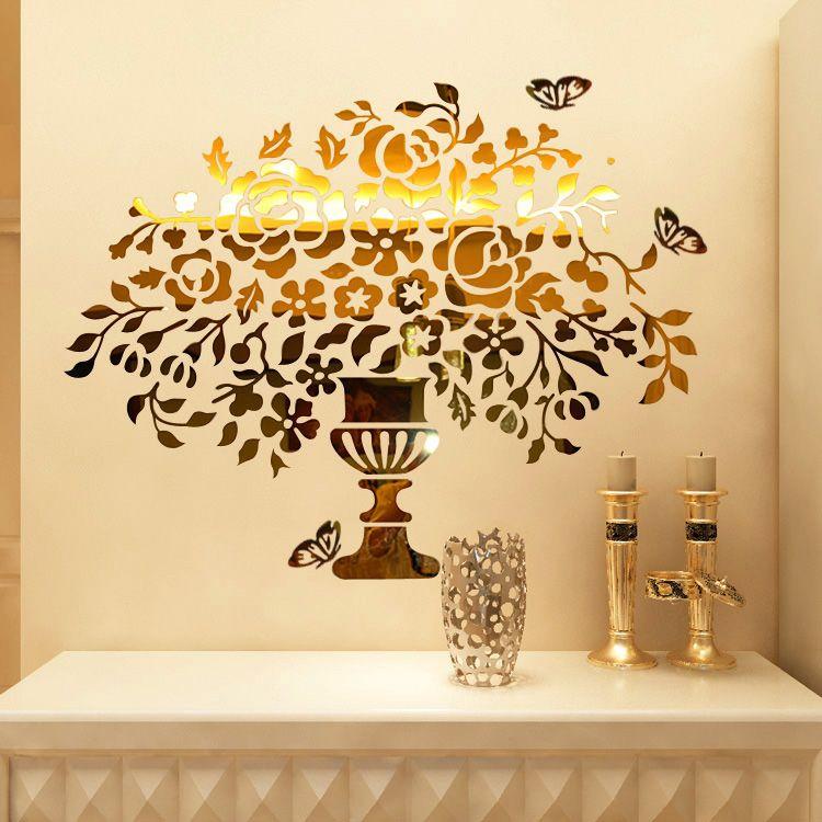 Vase of flowers Crystal acrylic mirror wall stickers Entranceway ...