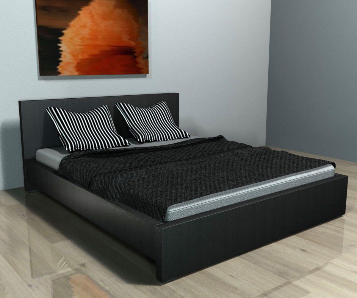 Cama de matrimonio de diseño modelo Bertina, fabricada en material polipiel de color negro y de gran calidad. 259€! http://www.mueblesbonitos.com/cama-bertina-negro.html #cama #diseno #minimalista #blanco #white #dormitorio #moderno