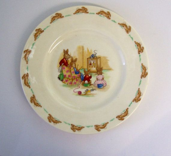 Bunnykins Plate Bunny Family Watching by threadsandthings1 on Etsy, $25.00