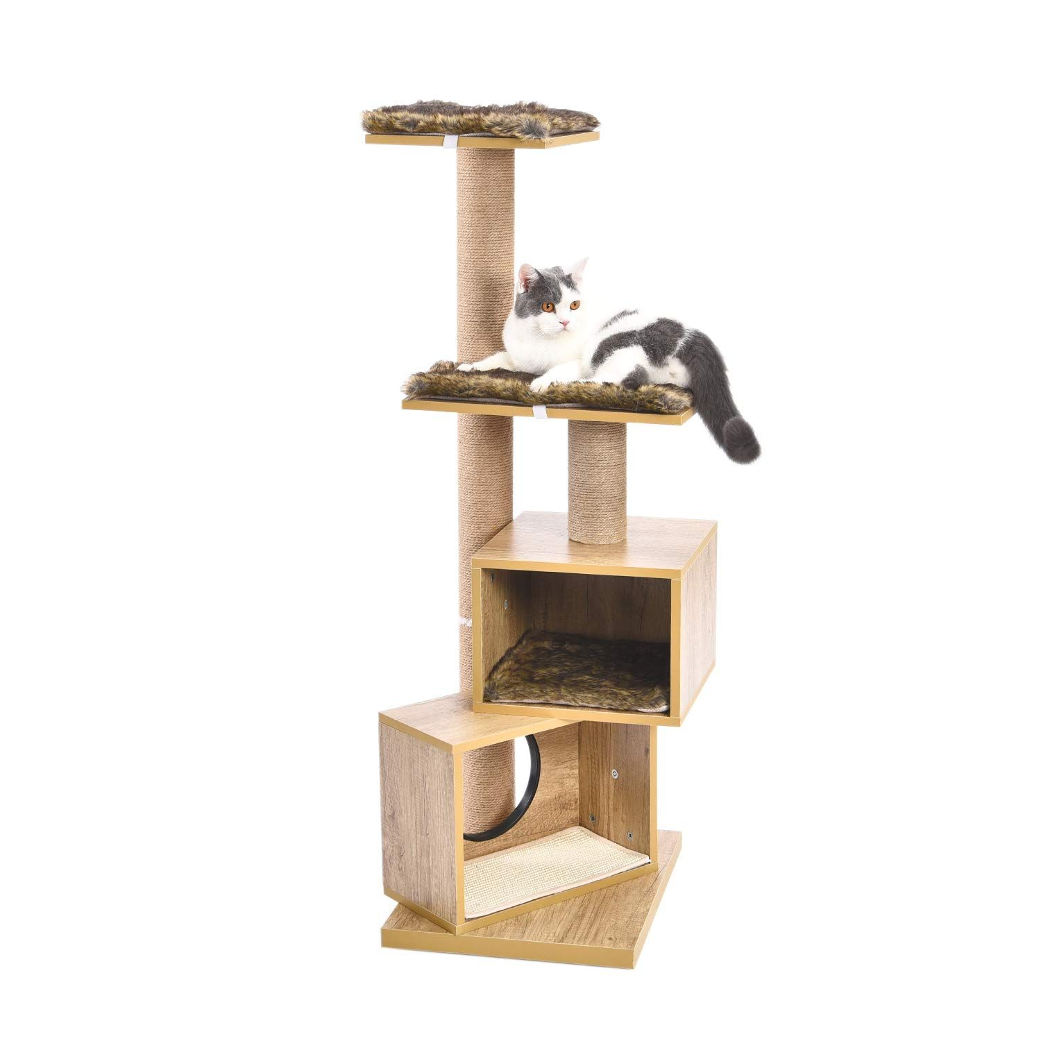 Pawz Road 48 Inch Multi Level Cat Tree Modern Cat Tower Featuring With Double Condos And Sturdy Scratching Posts Modern Cat Tree Cat Tree Condo Cat Tree House
