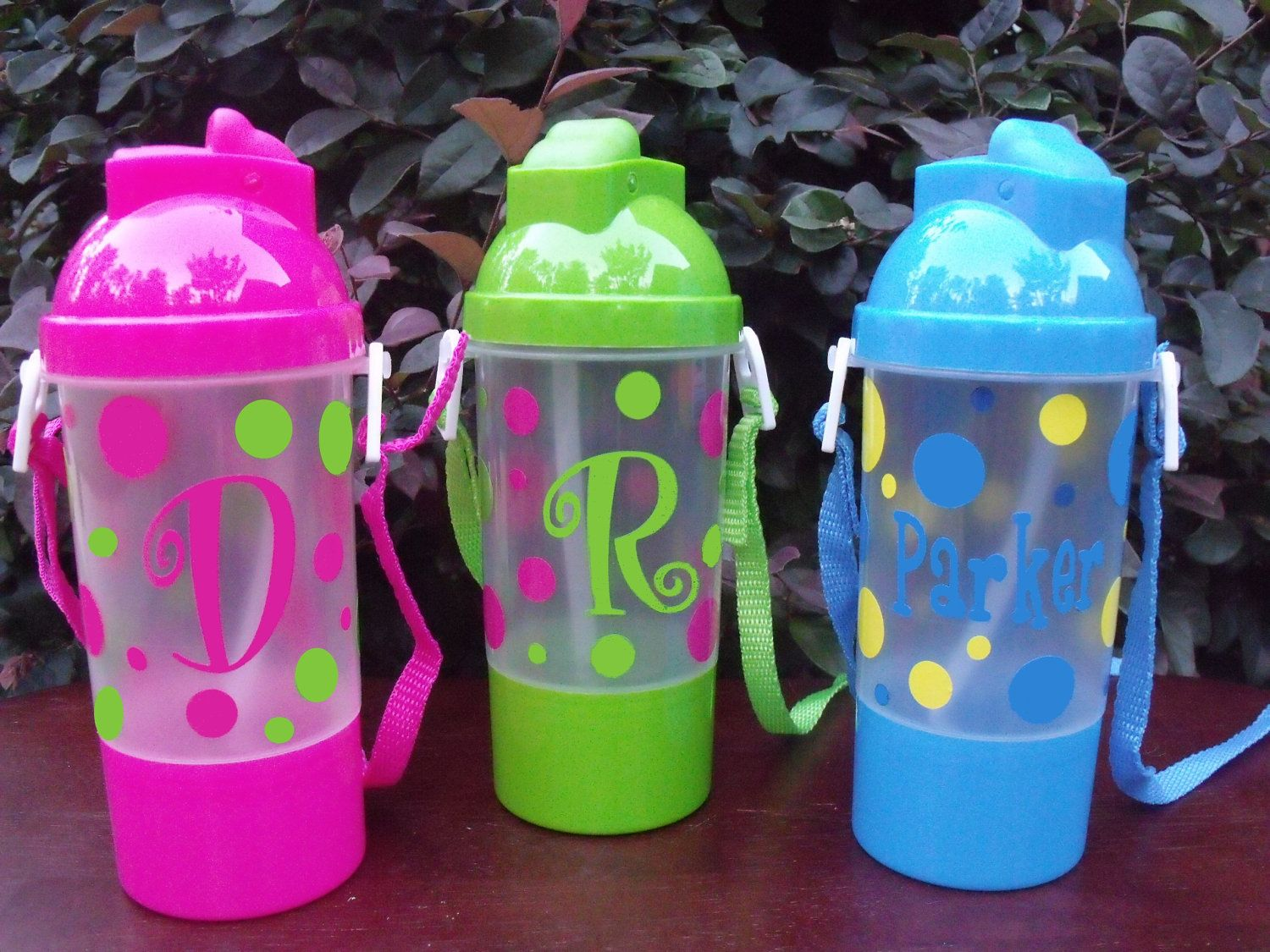 Personalized Polka Dot Water Bottle with Straw by Snappydotgifts, $7.50