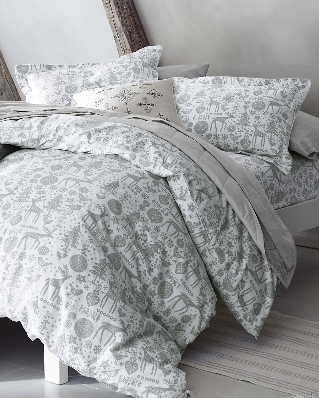 Nordic Forest Bedding Flannel bedding, Plaid bedding, Bed