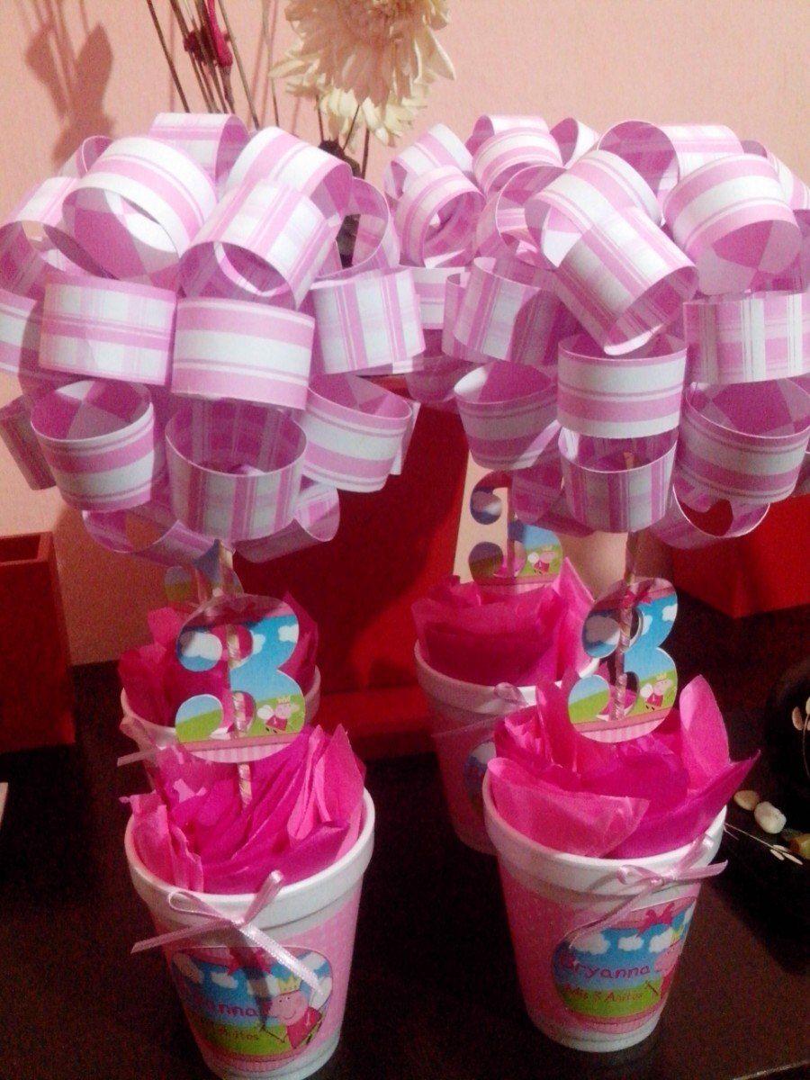 Centros de mesa peppa pig 55 00 en mercado libre - Mesas para cumpleanos infantiles ...